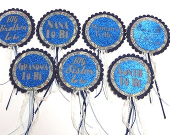 Baby Shower  Badge / Rosette - Baby Boy Blue Glitter Set of 6 Assorted