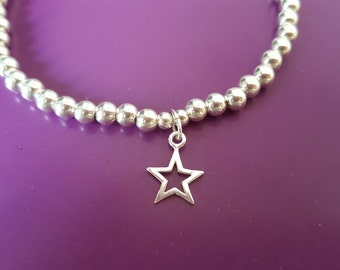 925 Sterling Silver 4mm bead bracelet with 925 star charm