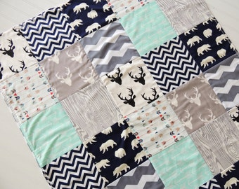 Woodland Boy Quilt, Baby Quilt, Boy, Bear, Deer, Stag, Arrows, Chevron, Navy Blue, Grey, Mint, Crib Bedding, Baby, Children