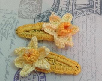 Pair of Handmade Crochet Daffodil Hair Clips