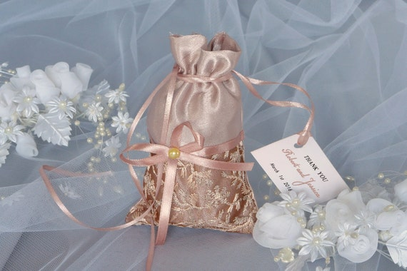 Brown Wedding Favor Bag, Favor Bag with Tag, Quantity 20, Lace Wedding ...