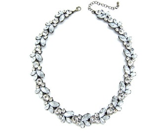 Elegant Crystal Marquise Ice Statement Necklace