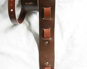 "handmade leather guitar strap made in France Urban Cam "" The 605 chocolate/mahogany"""