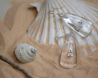PARIS 925 sterling, resin earrings, silver cabochon EIFFEL TOWER inside 2,5 cm + 2 cm silver loop