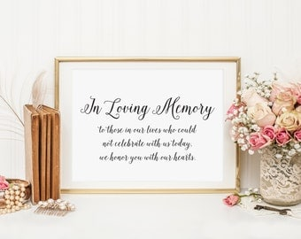 In Loving Memory Sign Table Card, In Loving Memory Wedding Sign, Family Photo Table Sign, Wedding signs, Wedding Signage, WIS04