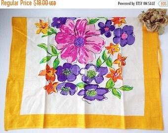 SALE Vintage Floral Tea Towel / vintage tea towel / vintage teatowel / vintage kitchen towel / vintage dish towel / vintage dish cloth