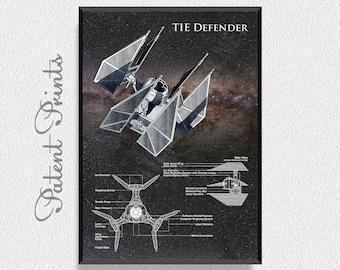 TIE Defender Poster, Star Wars Ship, Star Wars Poster, Star Wars Patent, Star Wars Blueprint, Star Wars Print, Star Wars Art