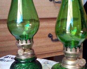 Vintage Pair of Green Oil Burners