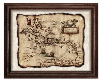 Pirate Treasure Map,Pirates of the Caribbean Map,Old Map,Pirate Map Printables,Pirate Decor,Instant Download,Pirate Art,Wall Art,Antique Map