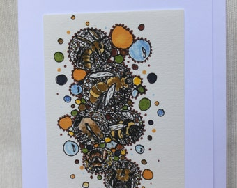 Busy Bees. Hand-Crafted Greetings Card