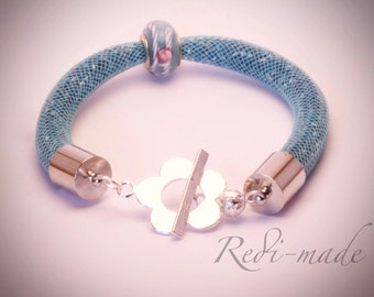 Bracelet - Stardust mesh with seed beads and a charm bead (#259514)