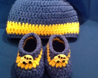 Baby Boy Booties and Hat