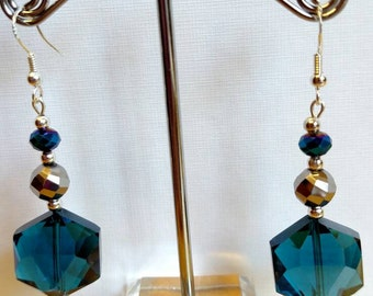 Blue and silver glass earrings