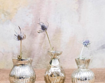 Antique silver glass faitrade vases (set of 3)