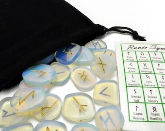 Opalite Elder Futhark Gemstone Rune Set