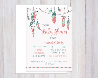 Baby Shower Invitation Printable, Tribal, Boho Chic, Feathers, Arrows, Boy or Girl Party