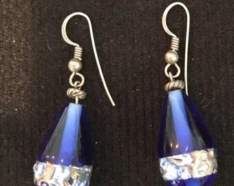 Exquisite Vintage Blue Cobalt Glass Drop Earrings
