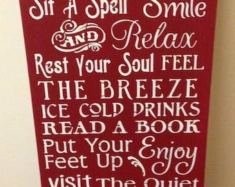 Porch Rules Sign barn red large 12 by 24 inches wood