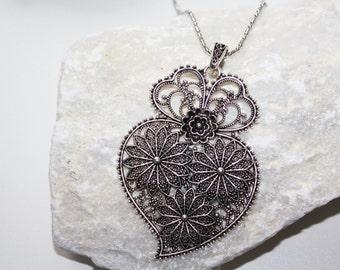 Long Heart Necklace, long chain, heart