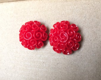 Vintage style Red Spirals Bouquet earrings