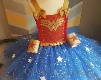 Superhero woman tutu dress fancy dress halloween oufit