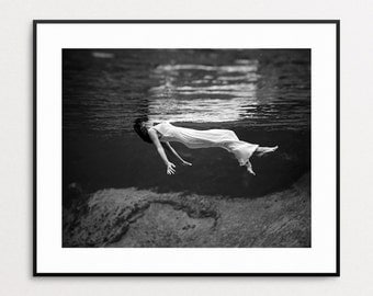 Fashion Wall Art - Fashion Photography - Fashion Print - Underwater Photography - Vintage Fashion - Black and White Fashion Photography