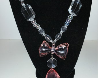 Crystal and Pink bow-tie necklace