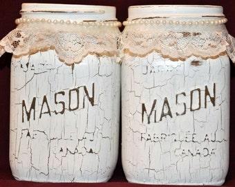 White Mason Jars, Hand painted
