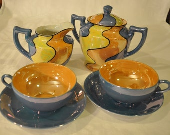 Vintage Luster Wear Hand Painted Made in Japan 6 Piece set