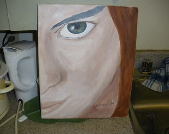 acrylic painting:  Girl with Green Eye