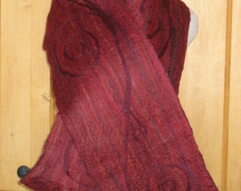 "Top Merino Wool ""Mohave Red"" and Wine Hand Felted Scarf"