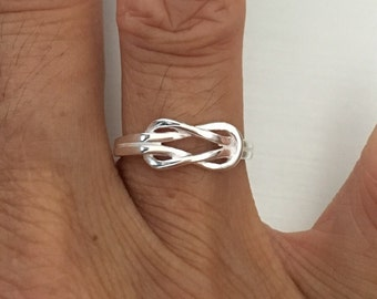 Sterling Silver Infinity Knot Ring, Toe, Midi, Pinky, Knuckle, Index, and Thumb Ring