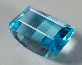 Natural Sky Blue Topaz, Half-Moon Rectangular Faceted, 9.26ct