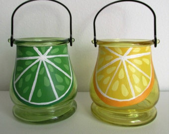Hand-Painted, Hanging Candleholder votives featuring a Lime and a Lemon, set of 2