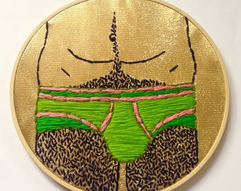 Embroidery picture DISCOPANTY II, mural, gold, glitter, gift, birthday, inauguration, underwear, man
