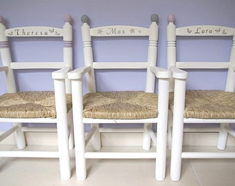 High Chair made of wood with arm - chairs natural or hand-painted
