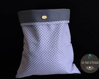 Toy bag / pouch lined blue cotton