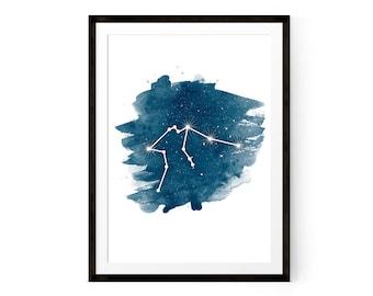 Zodiac Aquarius Zodiac Star Sign Aquarius Art Aquarius constellation Printable Poster