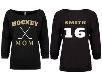 Hockey Mom Shirt. Womens Hockey Shirt. Slouchy Shirt. Off the Shoulder Shirt. Hockey Sweater. Custom Hockey Shirt. Hockey Season Shirt.