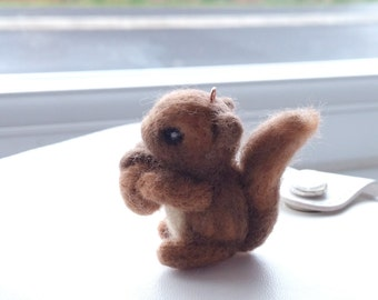 Hand Felted Squirrel with nut Charm, planner charm, bag charm, key chain, planner decoration, planner accessories, bag accessories