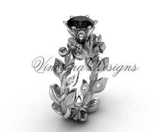 14k white gold diamond leaf and vine, Fleur de Lis,  Black Diamond engagement ring VD208124