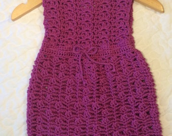 Magenta sleeveless baby girls Lacy design cotton dress Vintage look 3-6 months