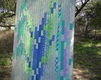 Wave on Wave Quilt - blue, green, purple, gray