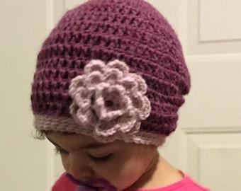 Purple, slouchy flower hat