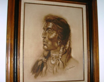Western Art -Native American  INDIAN WARRIOR Framed Painting on Canvas by Charleen Cox