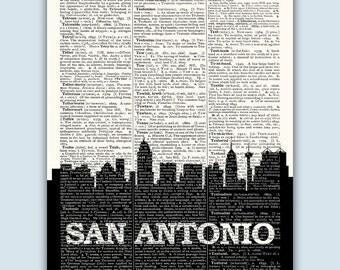 San Antonio Skyline, San Antonio Poster, San Antonio Decor, San Antonio Print, San Antonio Wall Art, San Antonio Gift, San Antonio Texas