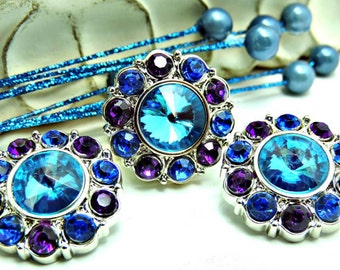 WholesaleTurquoise Acrylic Rhinestone Buttons W/ Blue and Purple Surrounding Rhinestones DIY Dress Coat Craft Buttons 25mm 2997 25 4 5