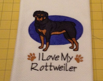I Love My Rottweiler Embroidered Kitchen Hand Towel, Williams Sonoma All Purpose, 100% cotton & Extra Large 20 x 30.