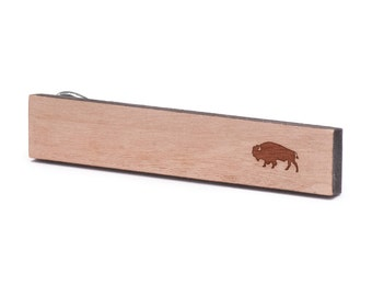 Buffalo Tie Clip, Wood, Gift For Him, Wedding Gifts, Groomsman Gifts, and Personalized