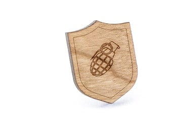 Grenade Lapel Pin, Wooden Pin, Wooden Lapel, Gift For Him or Her, Wedding Gifts, Groomsman Gifts, and Personalized